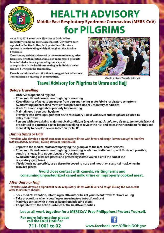DOH advisory for pilgrims